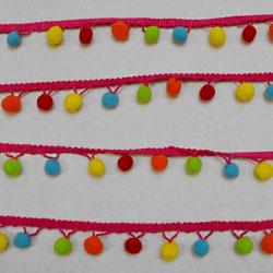Multi Coloured Pom Pom Trim