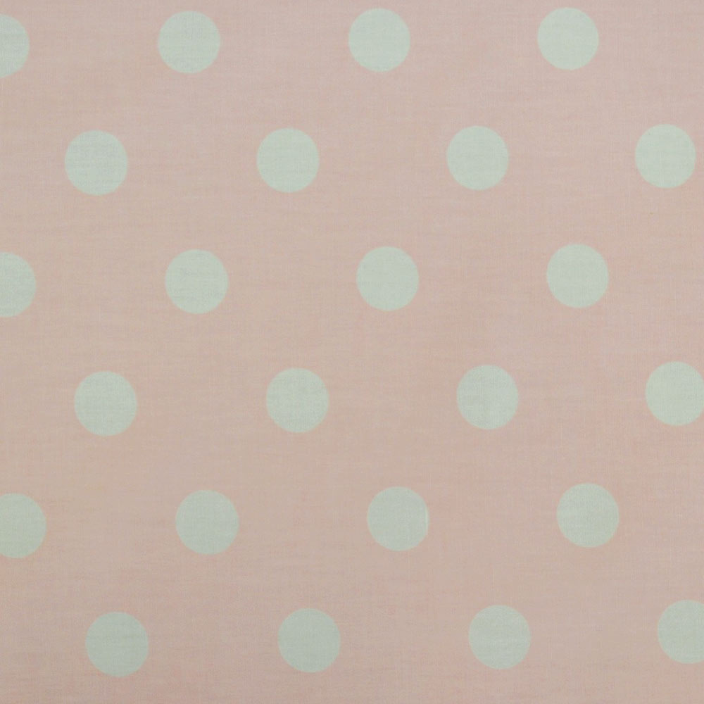 CP0076 White on Black Large Polka Dot Fabric 22mm